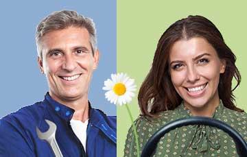 meccanico e donna al volante sorridenti